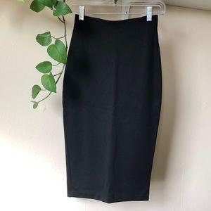 Black High Waist Stretch Pencil Skirt